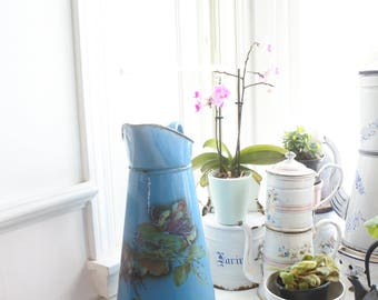 French Antique Enamelware Body Pitcher, Blue with Purple Pansies, c. 1920's, Kitchen decor, Valentines Gift, Flower vase, birthday gift