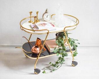Pastel bar cart, wooden tea cart, serving cart, 60s bar cart, faux bois cart
