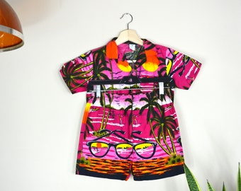 1970s tropical two piece set // vintage play suit combo