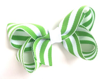 Lime green striped hair bow - green bow, girls hair bows, girls bows, green hair bow, toddler hair bows, baby bows, boutique bows, hair bows
