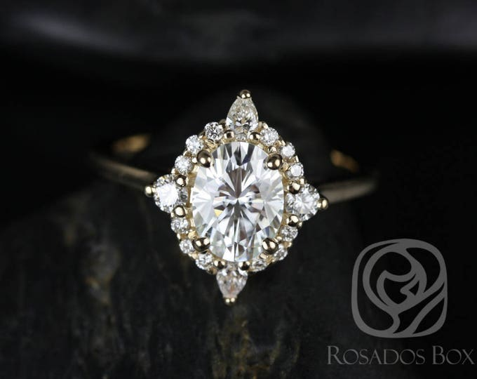 Featured listing image: Rosados Box Maris 8x6mm 14kt Rose Gold Oval F1- Moissanite and Diamonds Star Halo Engagement Ring