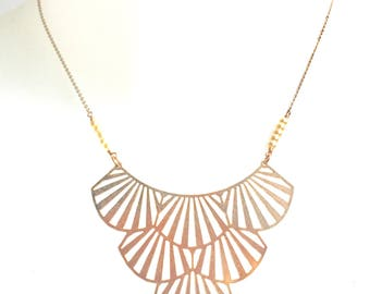 Divine Rose Gold Art Deco Fan Pendant Necklace with Tiny Glass Pearl Detail