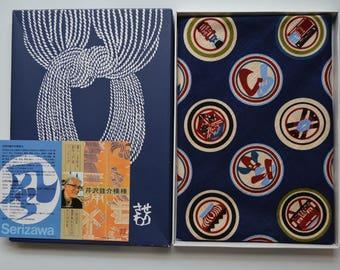 Cotton Japanese furoshiki eco gift wrapping cloth, Serizawa Keisuke, Edozome