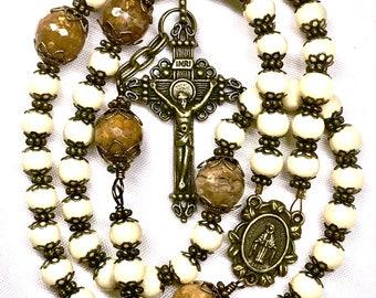 Catholic, Five Decade, Rosary, Prayer Beads, Spiritual, Religious, Faith, Inspirational, Christian Gifts, Antique Bronze & Cream Riverstone