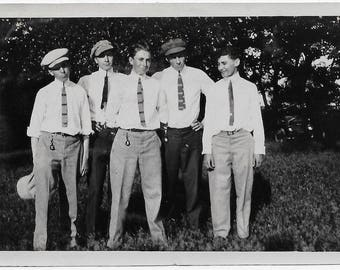 Old Photo Young Men wearing Hats White Shirts Ties Photograph Snapshot vintage