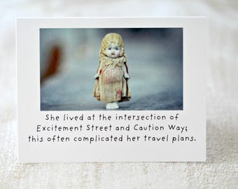 "Adventures of Claudia China Doll Stationary Silly Card ""Intersection"" Typography Funny Notecard Travelling Dolly"