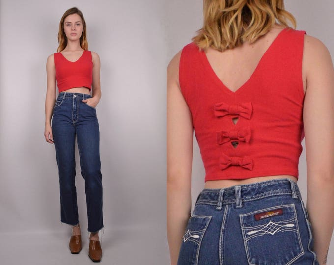 90's Red Bow Crop Top