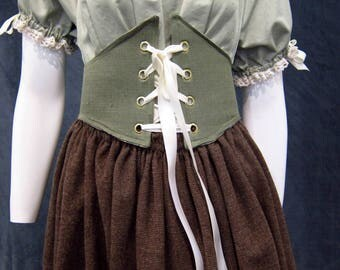 Reversible Medieval Renaissance Waist Cincher Sage Green Old Rose Medieval Corset Belt Large Underbust Corset Lace up Waist Belt