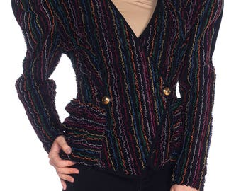 1980s Jacket With Multicolor Ruffles Size: