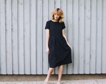 Polka Dot Linen Dress - Short Sleeve Polka Dot Dress - Loose Fit Dress - High Waist Dress - Handmade by OFFON
