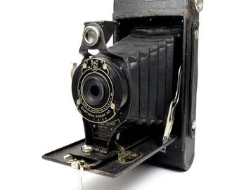 Antique 1920s Kodak No.2a Folding Cartridge Hawk-Eye Model B 116 Film Camera