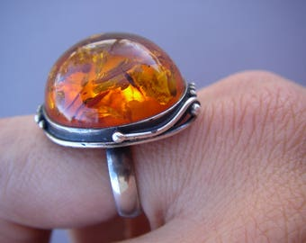 Vintage Amber ring size 8