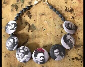 Frida Kahlo Button Necklace (Black & White)