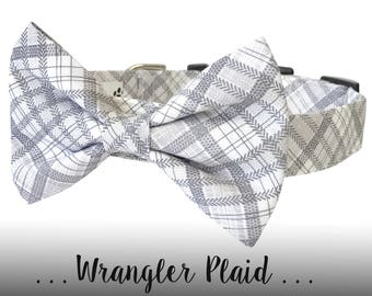 Gray and White Plaid Dog Collar and Bow Tie; Wedding Bow Tie Dog Collar: Wrangler Plaid