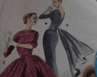 Vintage 1950's Butterick 7943 Date Dress Sewing Pattern, Size 16, Bust 36