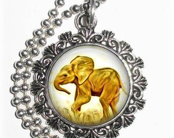 Baby Elephant Art Pendant, Lucky Resin Pendant, Animal Photography Art, Photo Pendant Charm