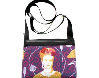 Frida Kahlo, purple, boxy cross body, vegan leather, zipper top