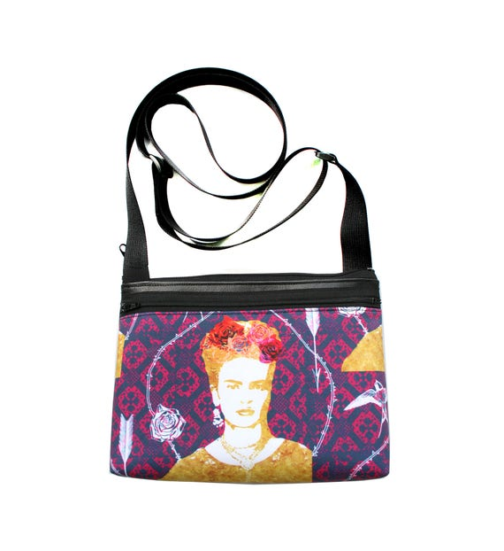 Frida Kahlo, purple, boxy cross body, vegan leather, zipper top