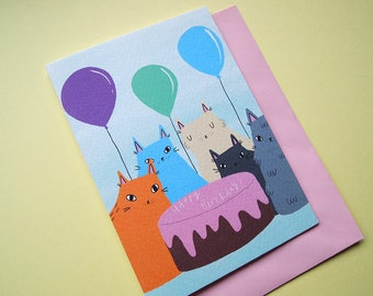 Cat Birthday Card - Happy Birthday - I like cats - Birthday Card - Cat greetings card - Balloons - Cake - Cats and cake - Card for Cat lover