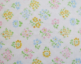 One Yard of Vintage Sheet Fabric - Pastel Floral Blocks - 1 yd