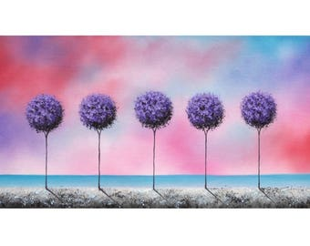Abstract Art Landscape, Textured Purple Tree Art, ORIGINAL Oil Painting, Abstract Tree Painting on Canvas, Modern Wall Art, Dreamscape, 8x16