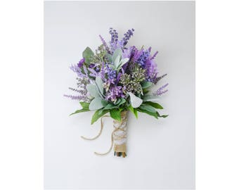 Wedding Bouquet, Bridal Bouquet, Lavender and Lilac wildflower bouquet with Lamb's Ear, Rustic Wedding Bouquet, Wildflower Bouquet, Wedding