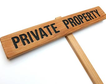PRIVATE PROPERTY Sign, Cedar Wood Stake Marker, Routed Black Private Sign, Private Drive Sign, Driveway Marker, Trespassing Signage