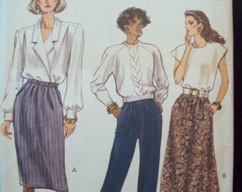 Tapered or A-line Skirt or Tapered Pants with Elastic Waistline Very Easy Very Vogue Pattern 7677 Uncut Sizes 14-16-18