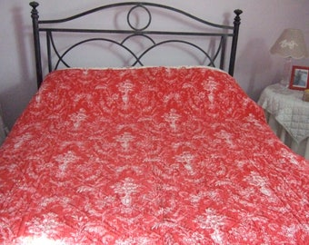 Antique French Double sided Quilt/Boutis  Red Toile de Jouy. Hand Made. Home and Living.