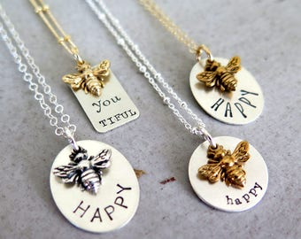 "Bee Necklace Inspirational  ""Bee Happy"" Honey Bee Gift for Her Personalized Necklace Gift For Mom Birthday Gift Honeycomb Necklace Queen Bee"
