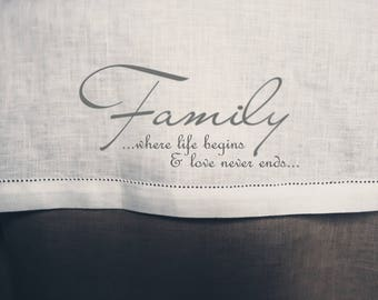 Family Christmas Linen Table Cloth / Handmade Linen Tablecloth With Classic Hem Stitch