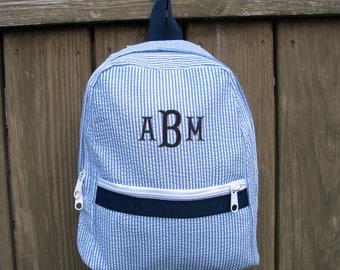 Small Seersucker Backpack, Seersucker Backpacks, child toddler backpack, monogram backpack, monogrammed backpacks, pink or navy blue