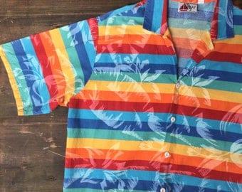 Rainbow Stripes & Leaf Print Shirt