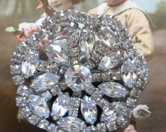 Large Vintage Multi-Faceted Cut Glass Clear Rhinestones Diamonte Brooch Pin on Silver Tone Back 1950s Round & Scalloped AbsolutelyStunning!