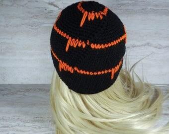 Black and Orange Beanie, Winter Toque