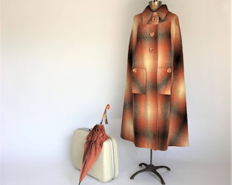Long 1970s Ladies Cape, Vintage Plaid Cloak in Autumnal Colors, Juli di Roma Outerwear, Ombre Cream Orange Brown, Belted Cape, Swing Coat