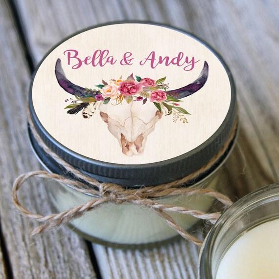 12 - 4 oz Soy Candle Bridal Shower Favors - Steel Skull Label - Floral Bridal Shower Favors - Rustic Bridal Shower Favor -Wedding Favor