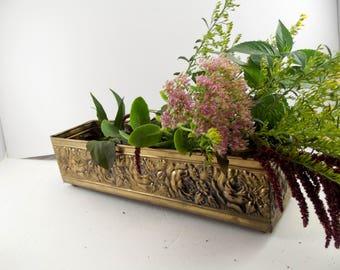 Brass Planter / Holiday Decor / Brass roses / Planter
