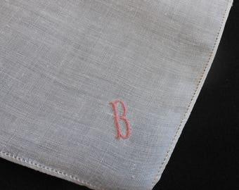 B Monogram Hanky Vintage White Linen Wedding Handkerchief Pink Embroidery, Dainty Petite Monogram Something Old Wedding Hankie Gift Letter B
