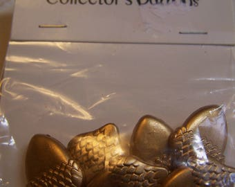 """Gold Acorn Novelty Plastic Shank Buttons, Lot of 6 1"""" x 3/4"""""""