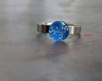 Adjustable band ring ~ blue ring ~ adjustable ring band ~ everyday ring ~ delicate ring ~ stainless steel ring ~ hypoallergenic ring
