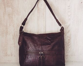 Leather handbag // Boho slouch purse // Soft genuine leather // Gifts for her // Brown // Natural // Unique // Genuine // Michelle