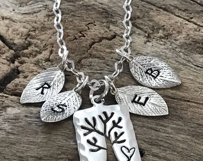 Leaf Initial Necklace |  Initial tree necklace  | Personalized Tree Necklace | Sterling Silver  | Family initial Necklace