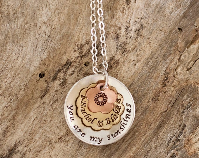 You are my sunshine personalized    Sunshine Necklace   My only sunshine    Sunshine Jewelry   Mixed metal necklace