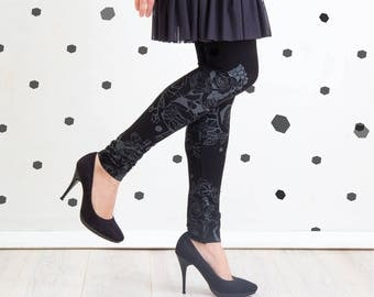 Black and White Fairytale - leggings