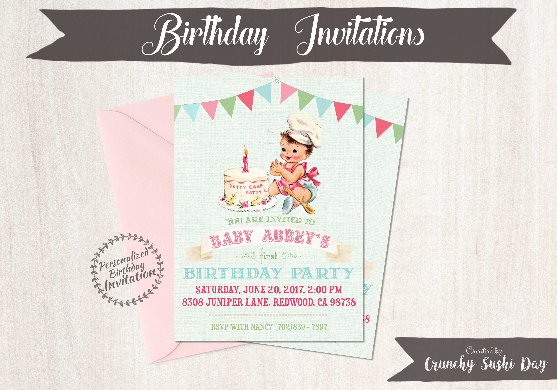 Vintage Baby Girl Customizable Birthday Invitations, Customize, Girl ...