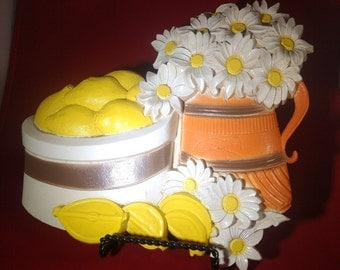 Pair DAISIES & FRUIT Yellow Orange and White Wall Decor-Homco Syroco Inc. 1981-Moulded Plastic-Excellent Condition-Mid Century Charm!!