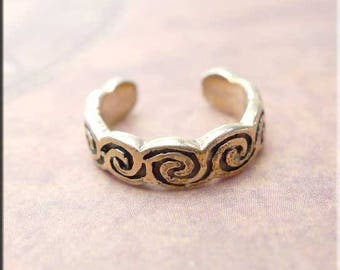 Sterling Silver Celtic Swirl Toe Ring, Celtic Body Jewelry - SPC011X