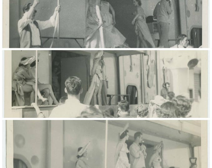 Peep Show! Set of 3 Vintage Snapshot Photos: Fun Fair Carnival Peep Show Girls! c1950s 5x7s (711621)[O/S]