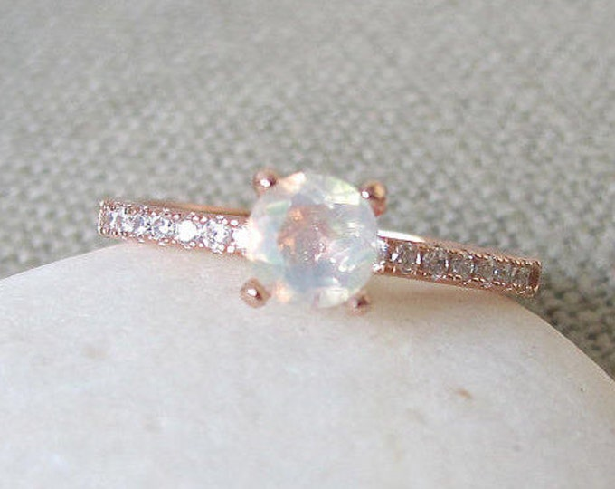 Featured listing image: 4 Prong Opal Ring- Promise Ring- Woman Engagement Ring- Rose Gold Opal Ring- Classic Engagement Ring- Boho Rings for Her- Genuine Opal Ring